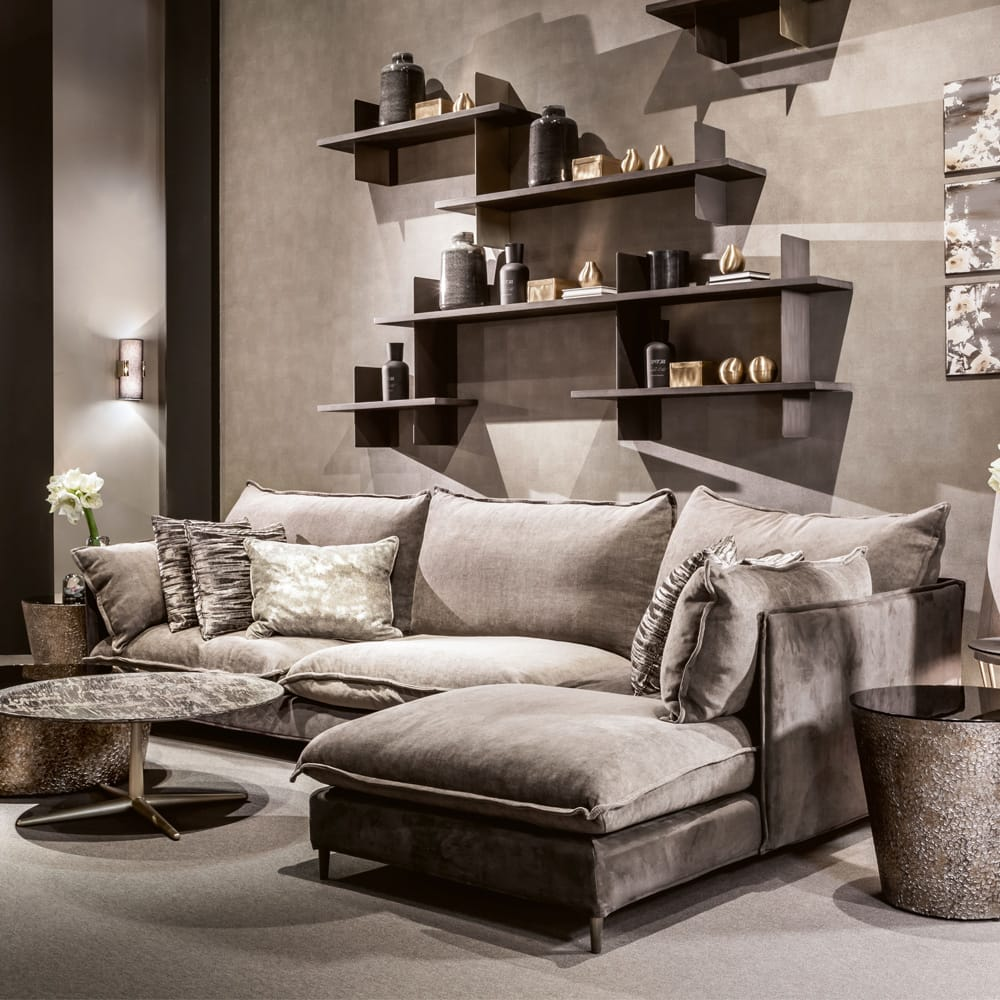 Impress the guests, oversized contemporary sofa in taupe faux nubuck, with chaise end