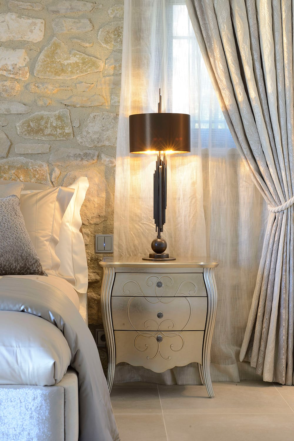 Award winning Provence villa, classic bedside table with 3 drawers, subtle swirl design, champagne leaf finish