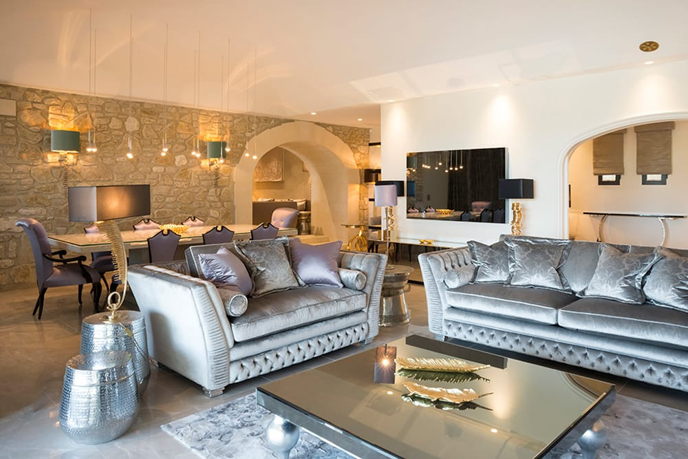 5 Start Interior Design Award winning Provence villa, after, silver sofas, mirrored coffee table, turquoise and lavender coloured accessories