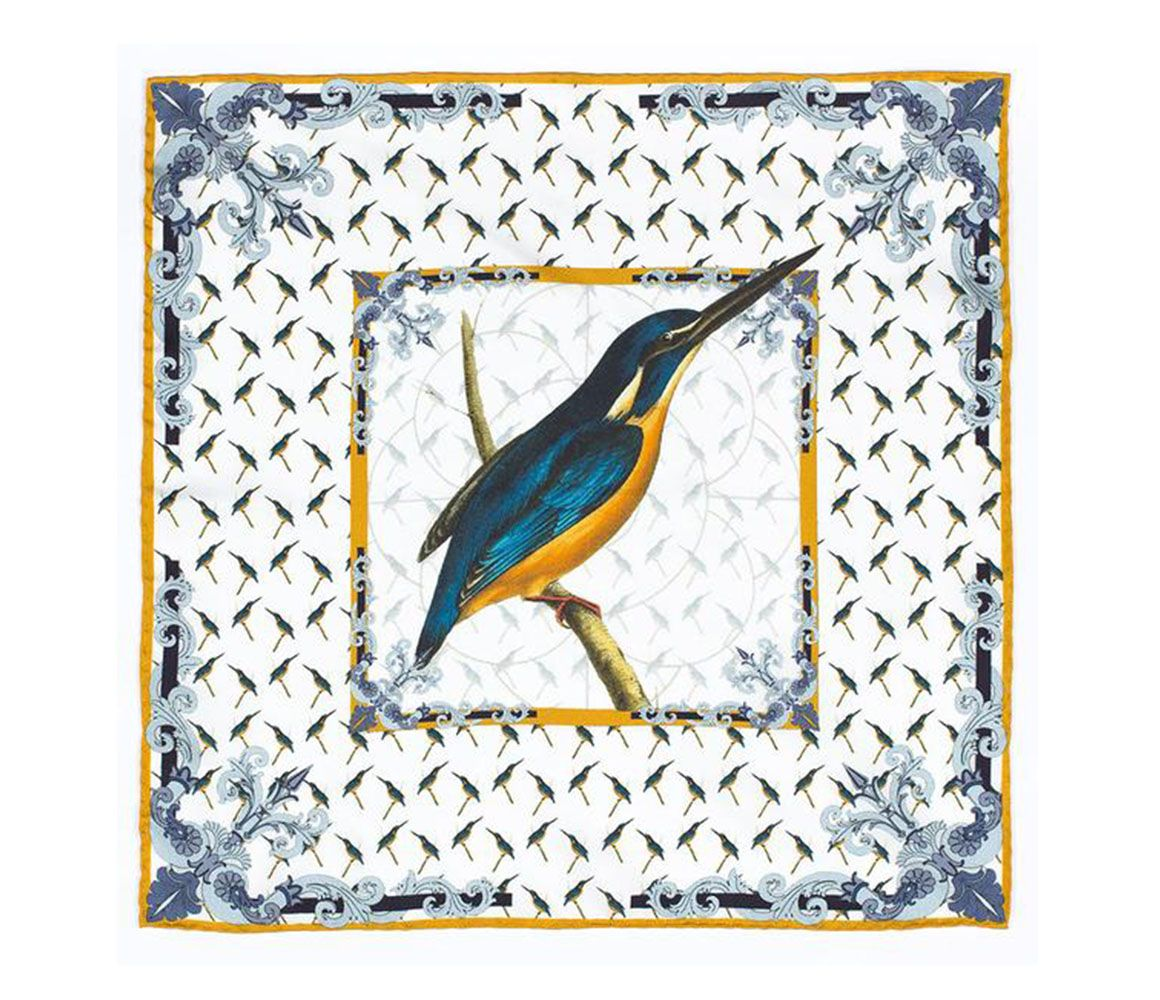 fathers day gift, kingfisher silk pocket square