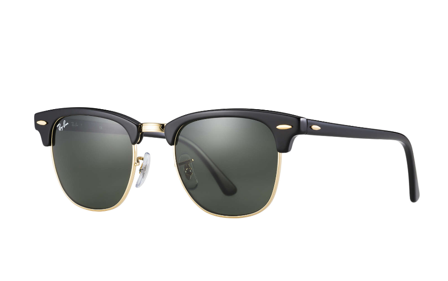 fathers day gift, ray ban clubmaster classic sunglasses, black with gold rim