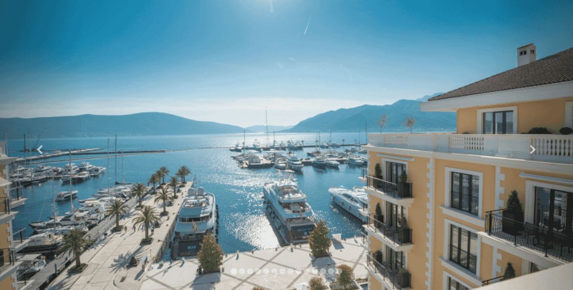 Regent Porto Montenegro hotel, Montenegro, view of the boat dock with numerous yachts