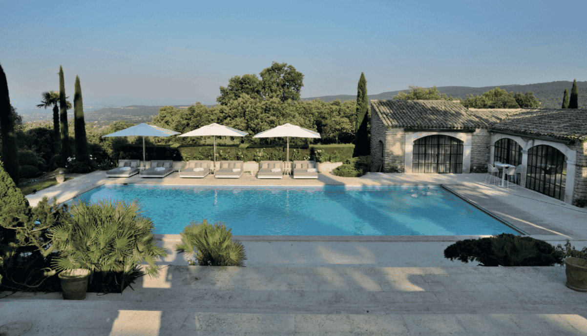 5 Star Interior Design, Award winning Provence villa, poolside and pool house, view across hills of Provence