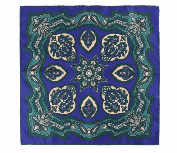 gift guide, silk pocket square, blue and green bold pattern