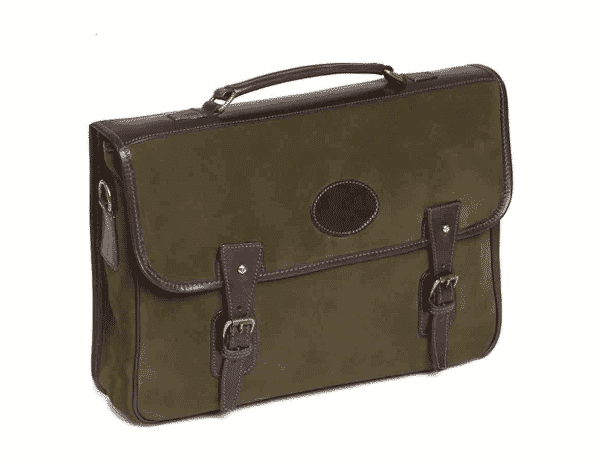 gift guide, green suede buckled briefcase by Pickett