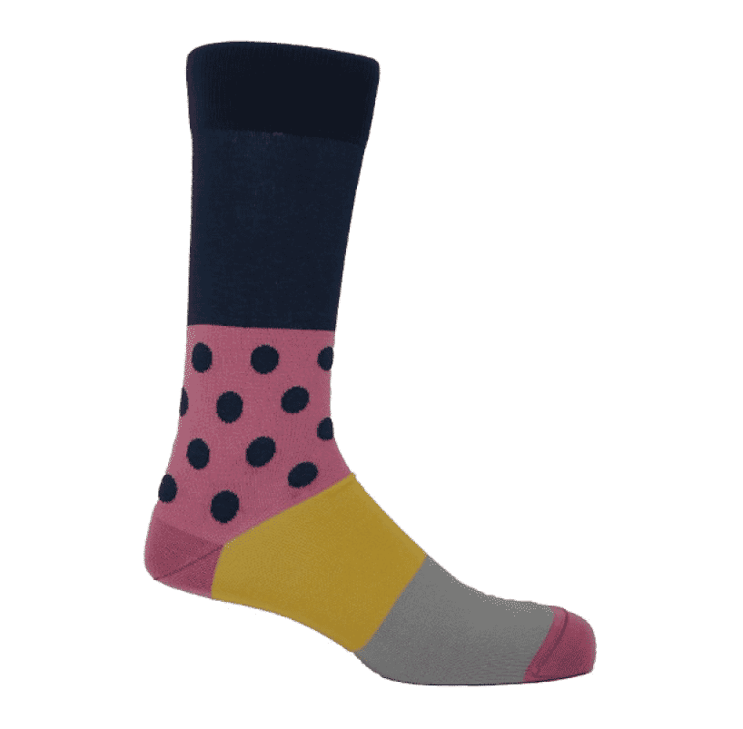 gift guide, navy and pink polka dot mayfair gents sock by Peper Harow
