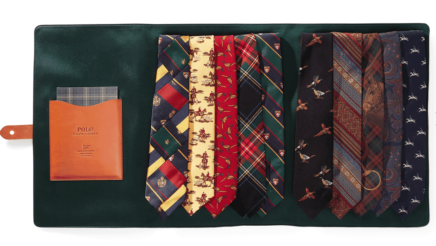 gift guide, Ralph Lauren 50th anniversary tie collection, in green wallet