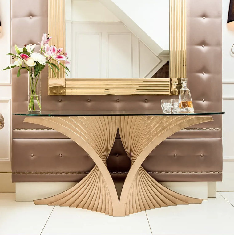 British Design, console table with curved fan-shaped base, glass oval ended top