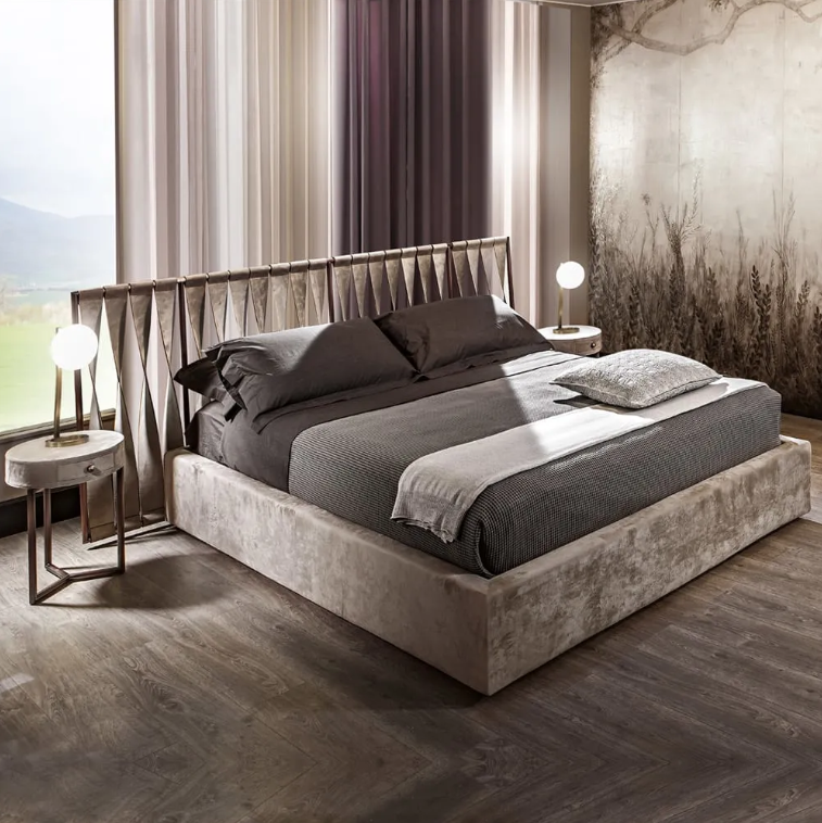 world sleep day, luxury bed with twisted leather headboard