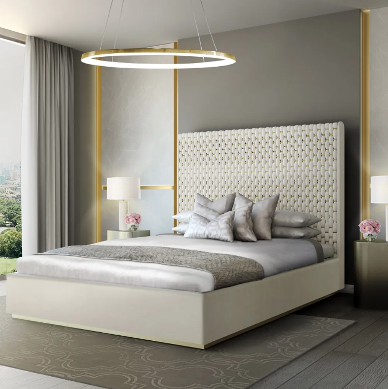 world sleep day, velvet and brass interlaced bed, tall headboard