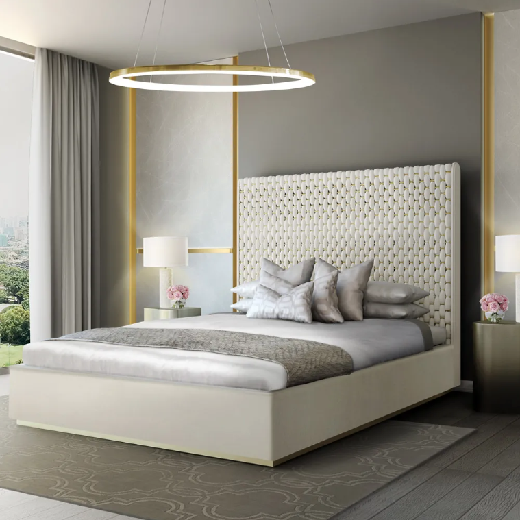Trade, luxury bed with large, woven velvet and brass headboard