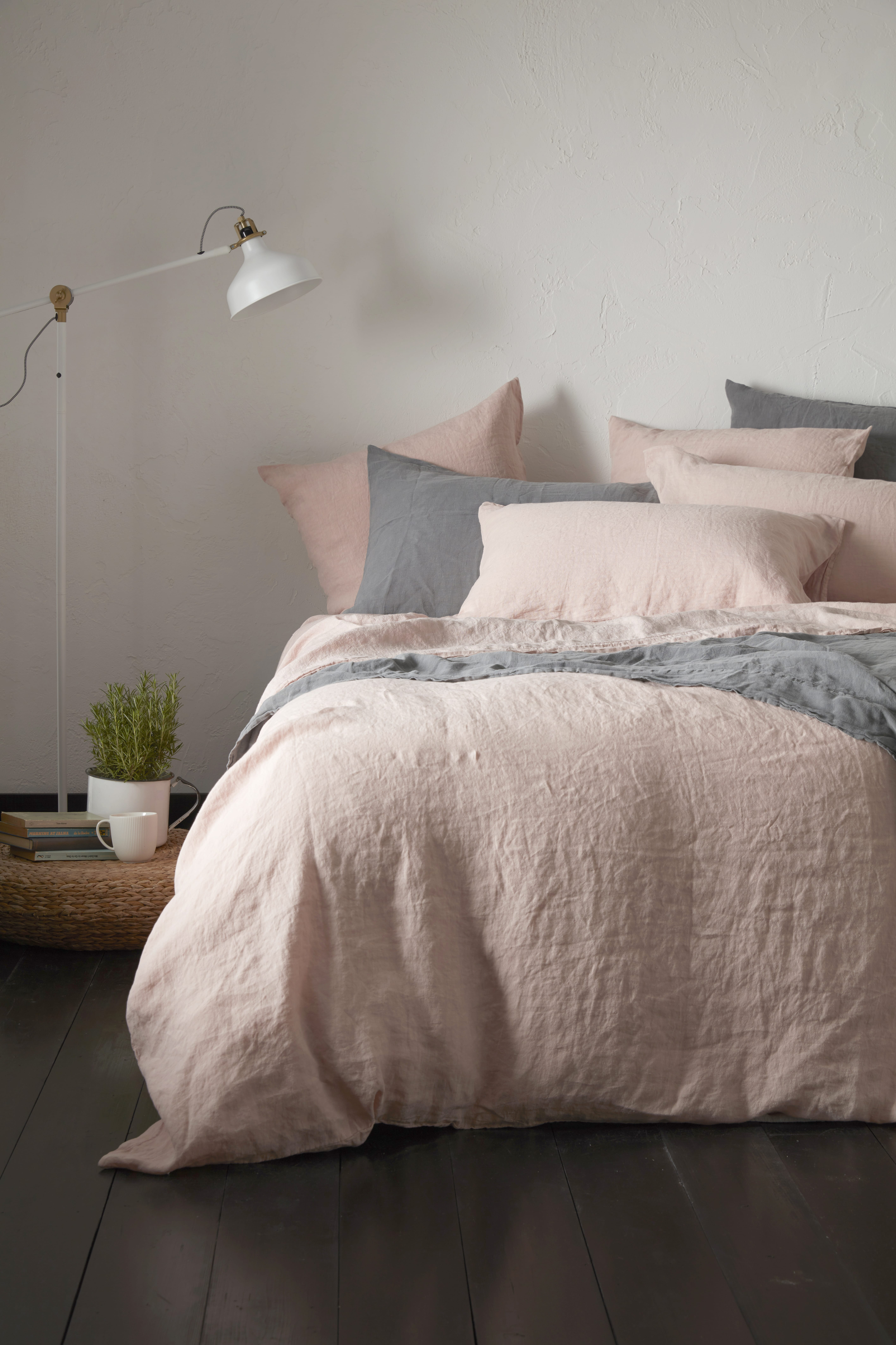 Impress the guests, Secret Linen Store 100% linen bed linen in pin and grey