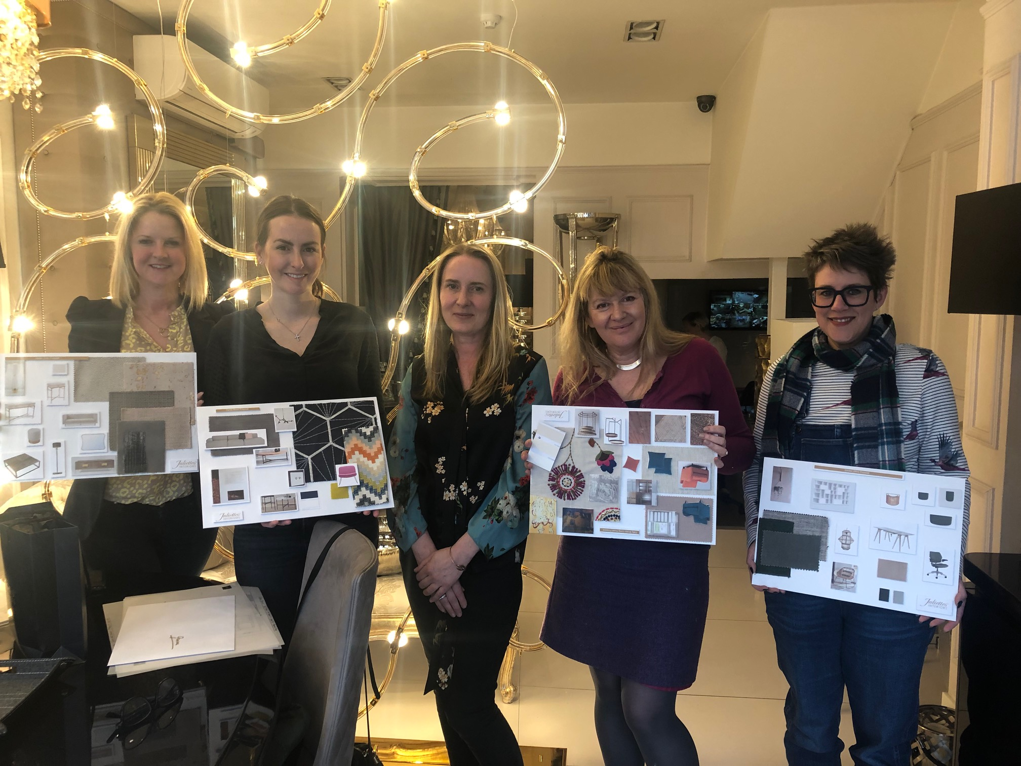 Interior Design Course, March group with moodboards, Tanya in centre