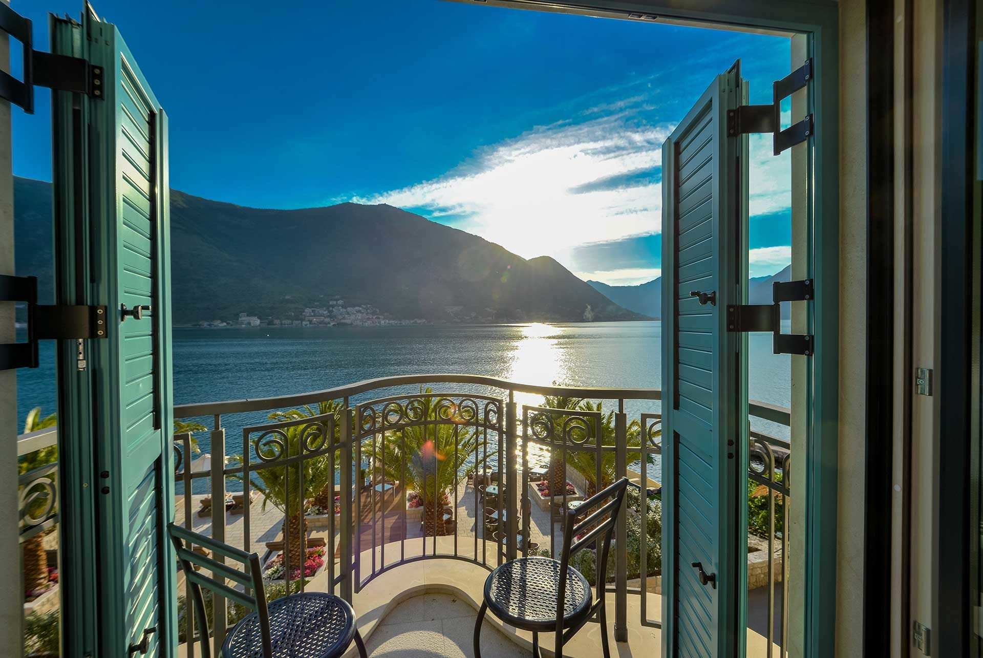 View of Kotor Bay from the Venetian style balcony at Forza Terra hotel, Montenegro