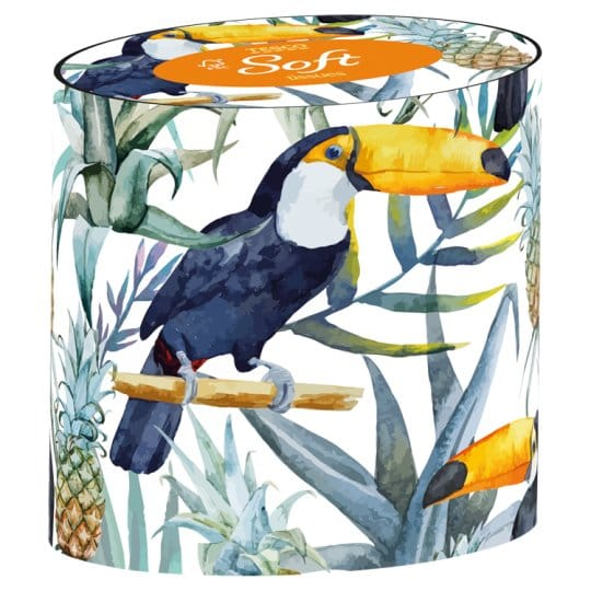 Impress the Guests, box of tissues, bright print with toucan, pineapple, giant leaves