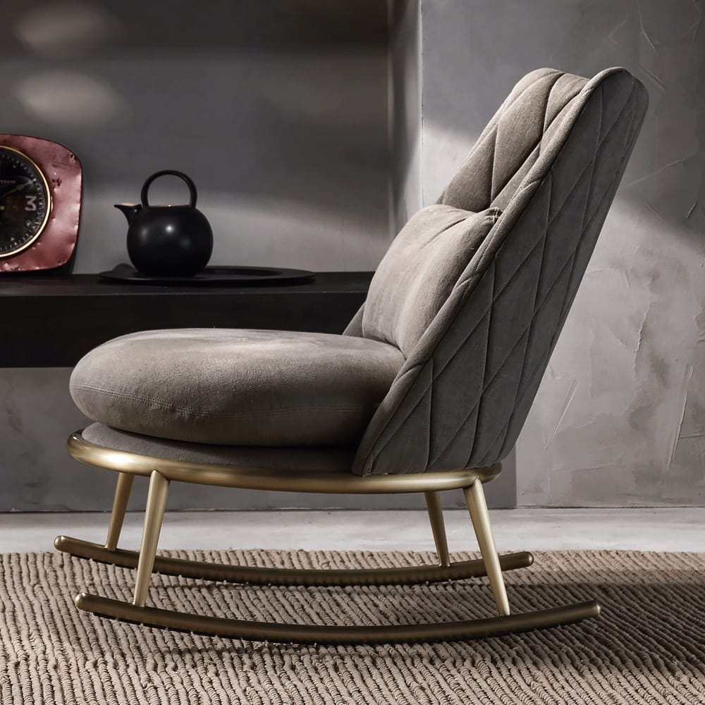Chelsea Collection, modern rocking chair, quilted leather, brushed bronze base