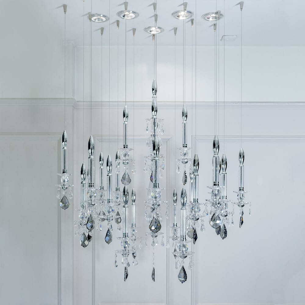 Impress the guests, crystal chandelier with ceiling spotlights and smoked crystal drops