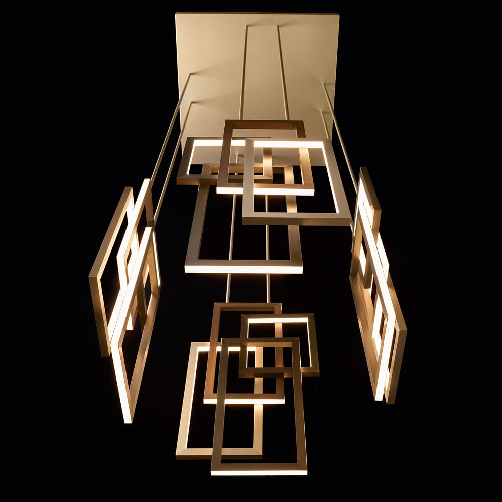 statement furniture, vertical geometric contemporary chandelier, gold and bronze rectangles