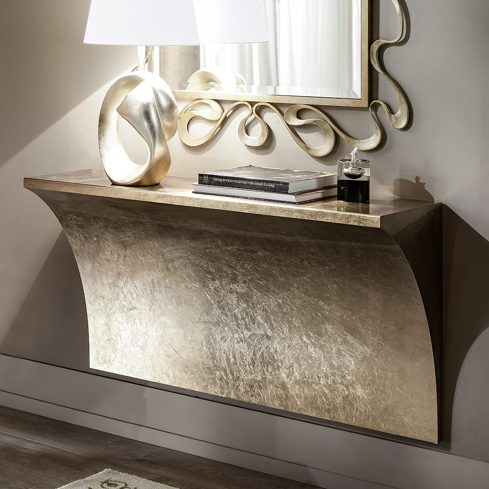 Chelsea Collection, modern wall mounted console table, gold leaf finish