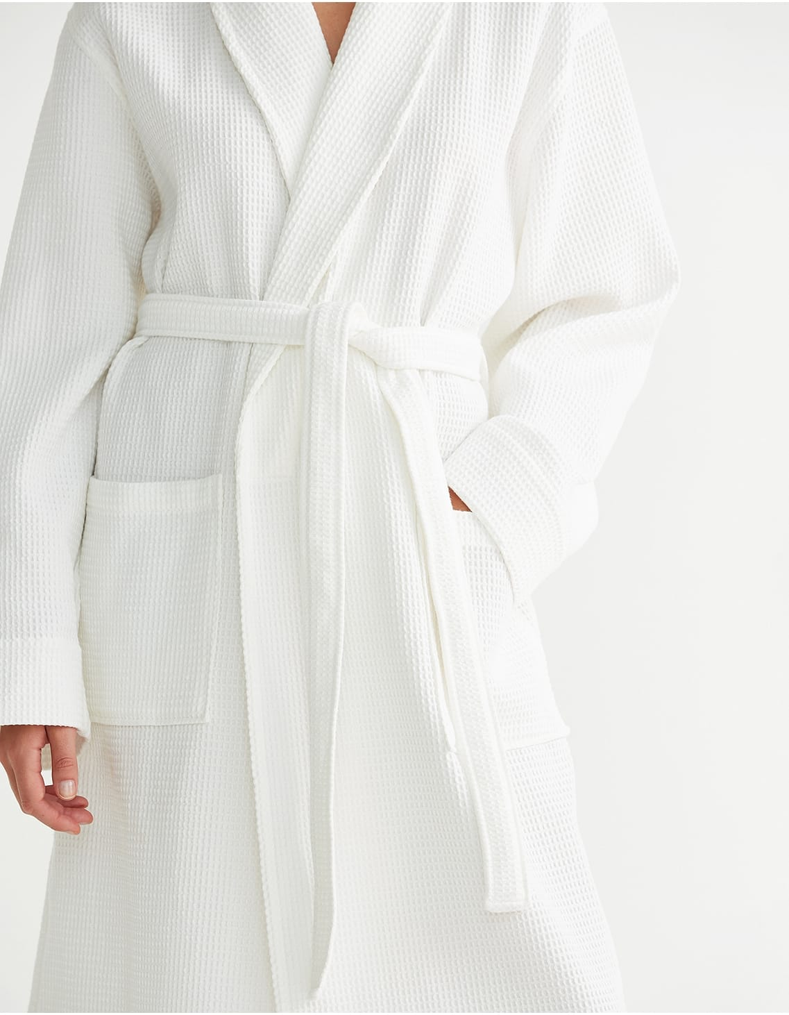 Impress the guests, unisex white waffle robe by White Company