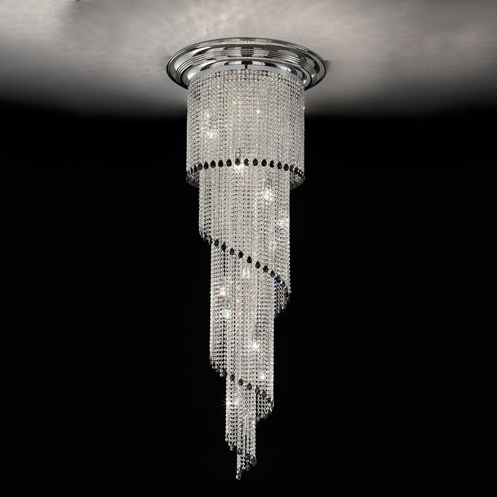 art deco style crystal staircase chandelier
