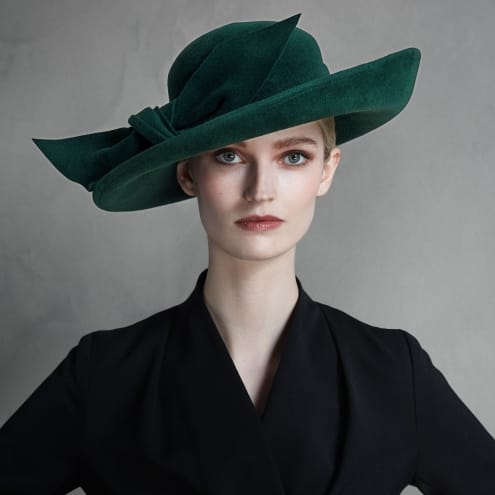 gift guide, lady's green felt fedora hat, big bow, by Lock Co hatters