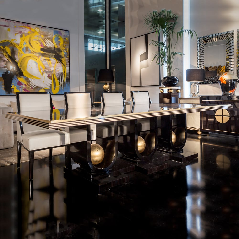Impress the guests, large rectangular dining table, gloss ebony top, black base with gold leaf balls decoration, 10 seats