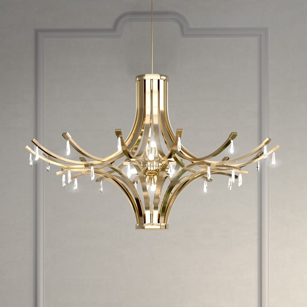 chandelier, contemporary gold plated chandelier with crystal drops