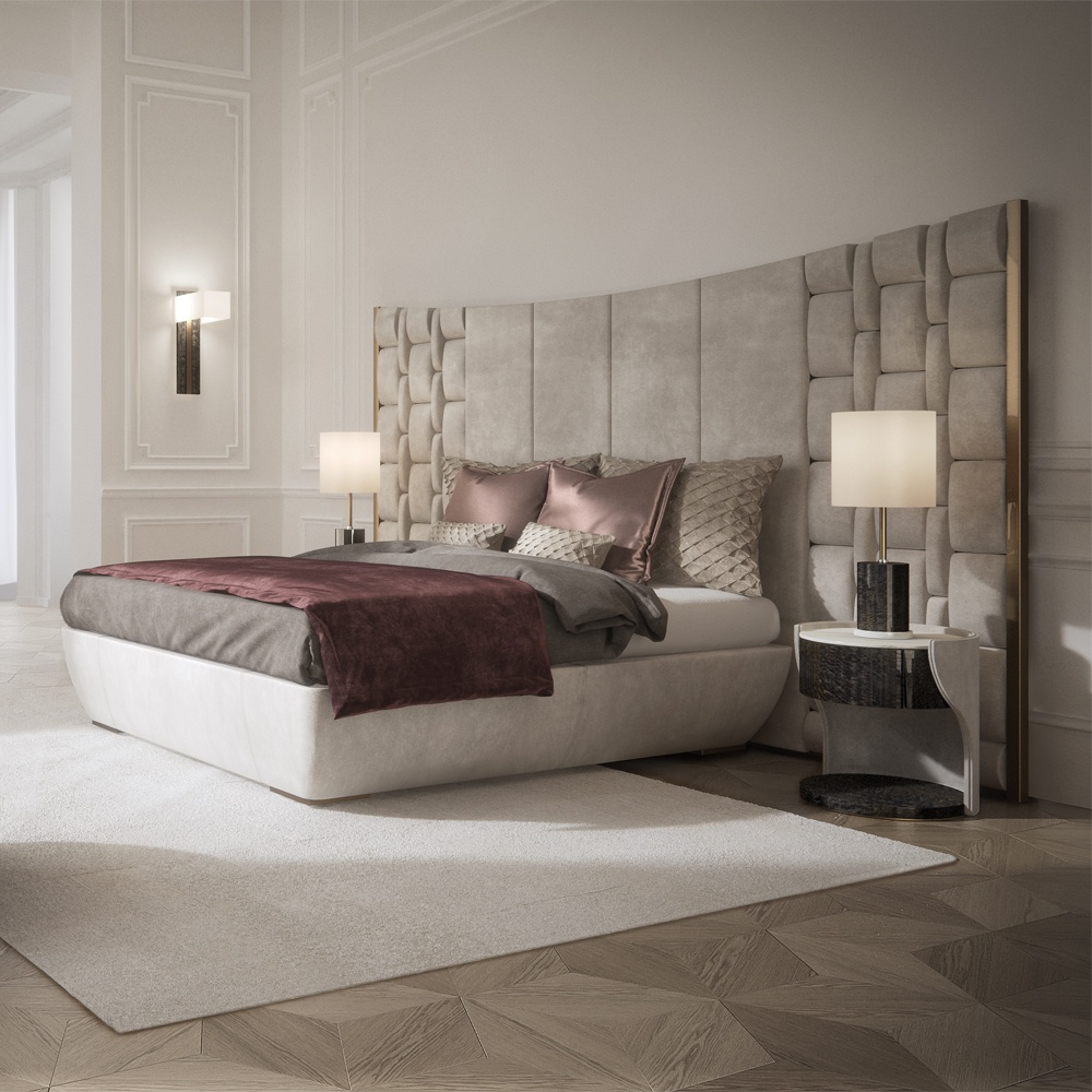 Contemporary Italian Bed With Large Luxury Leather Headboard