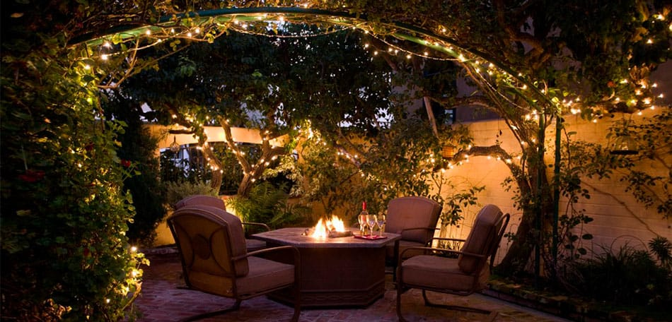 outdoor lighting fairy lights over canopy arch