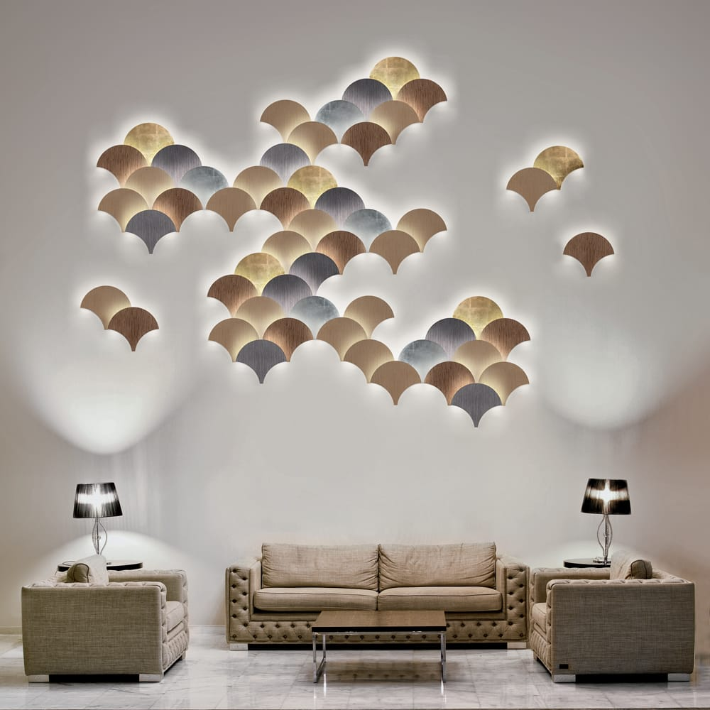modular wall light installation gold grey bronze neutral meet the designers