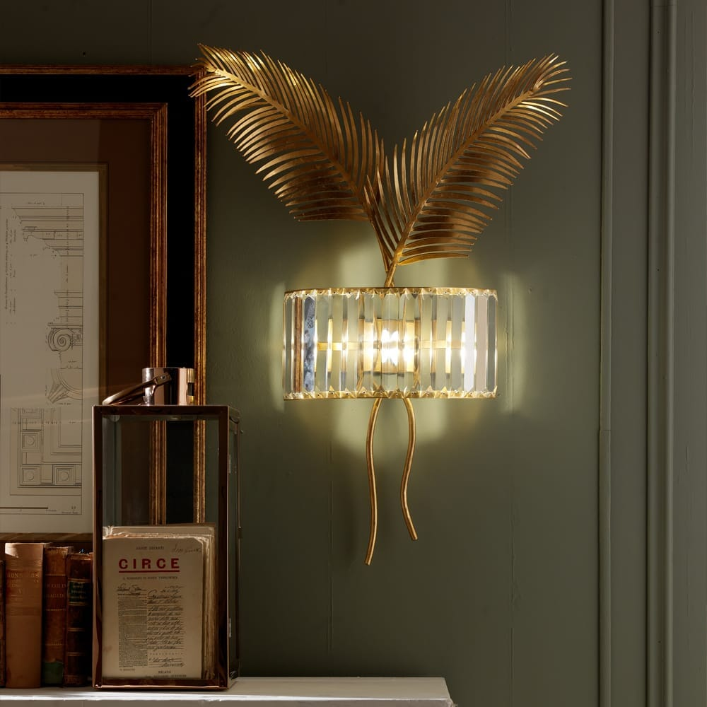 luxury lighting design, wall light with large gold leaves