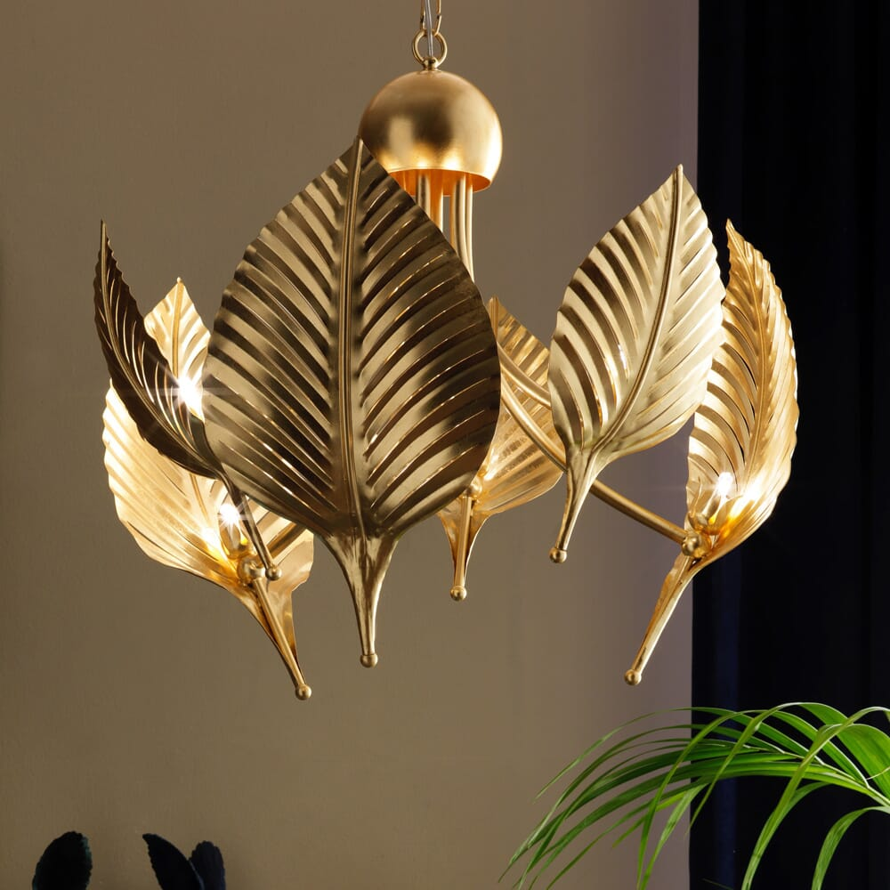 chandelier, modern palm leaves design