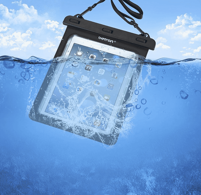 Waterproof iPad, Kindle or tablet case with strap