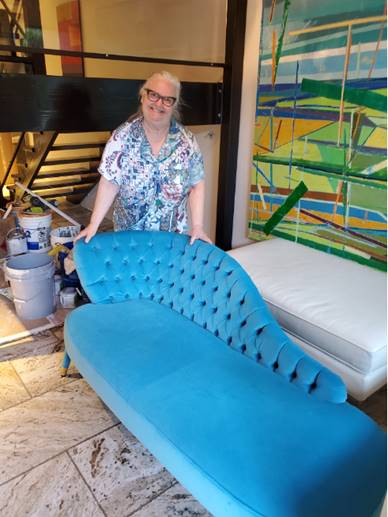 Interior Design Course, Debbie working on her design, with turquoise chaise longue