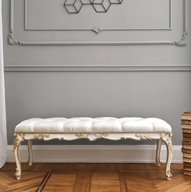 ivory, button upholstered bedroom bench, chaise longue