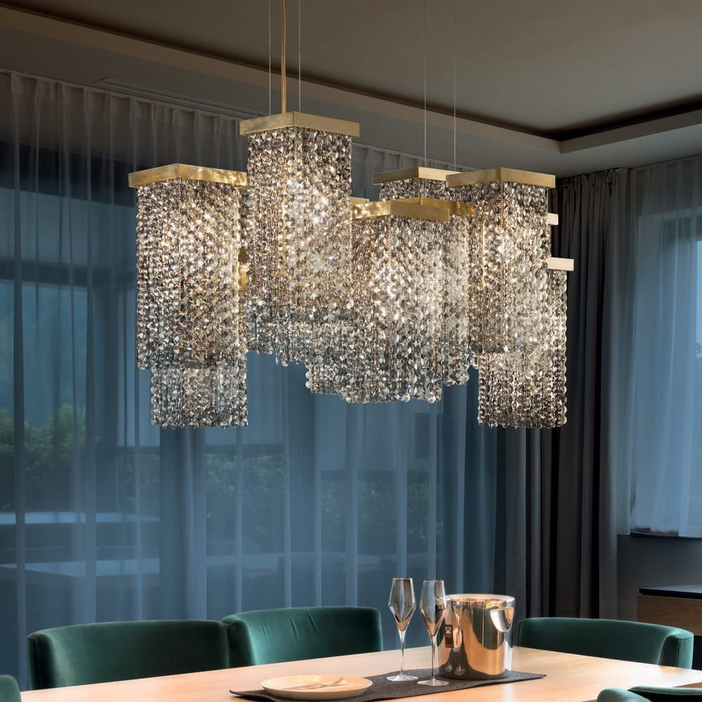 chandelier, multiple square frames, crystal drops