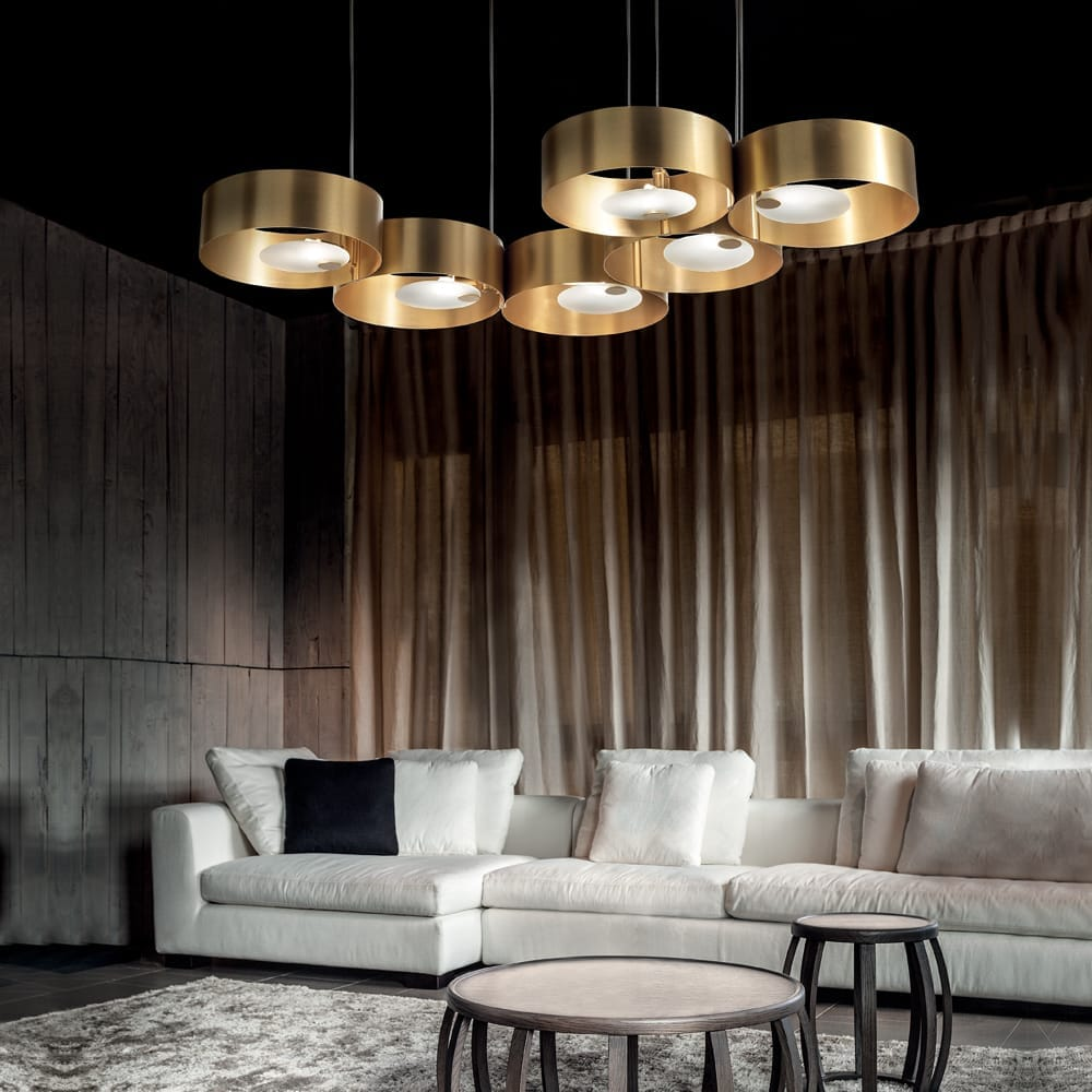 luxury lighting design, contemporary gold 6 circle ceiling pendant light