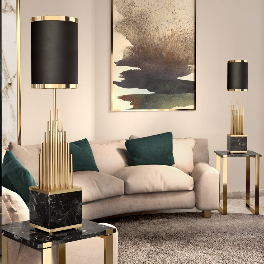luxury lighting design, black and gold marble table lamps