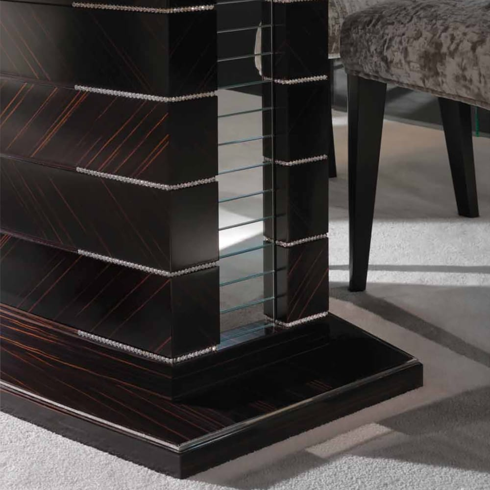 large modern ebony dining table swarovski crystal finish