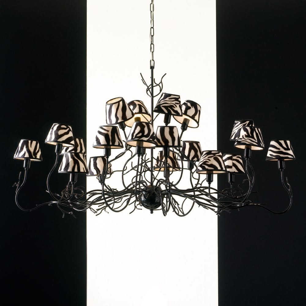 chandelier, modern black branches, zebra shades