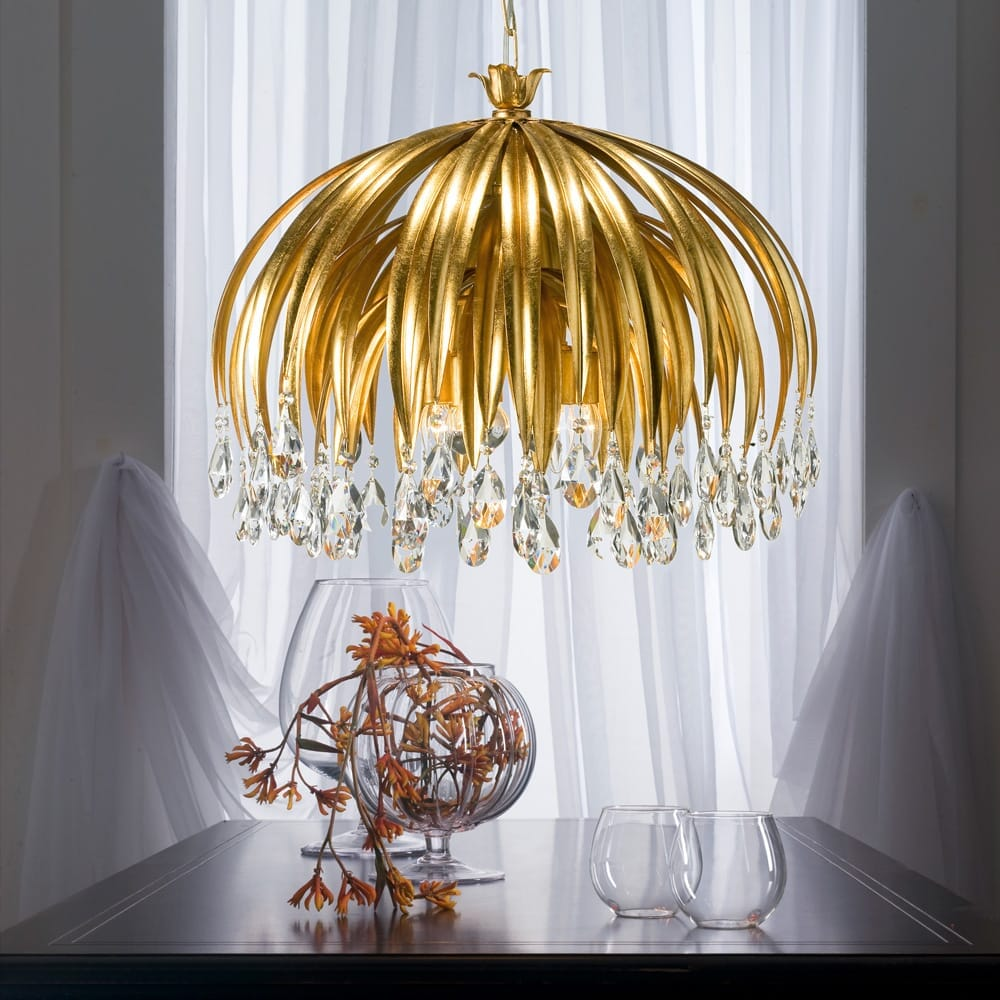 chandelier, gold leaf with crystal pendants