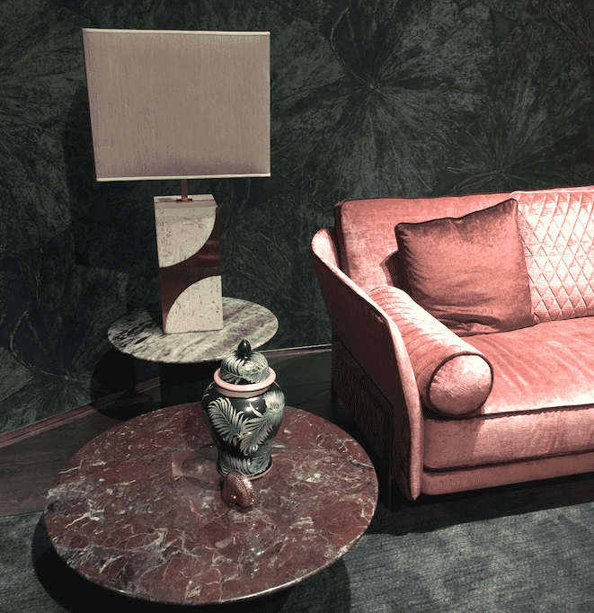 milan update red green marble earthy pink sofa