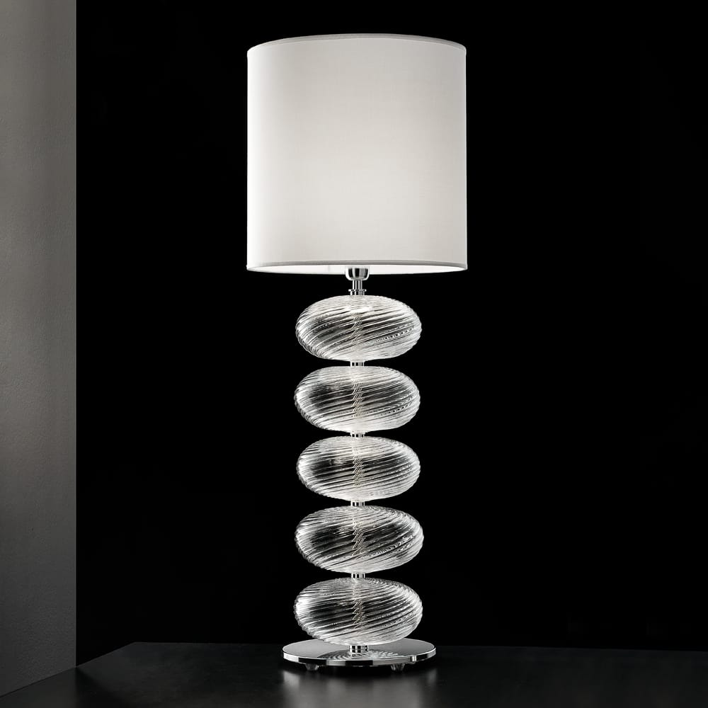 Impress the guests, murano glass table lamp, handcrafted glass twist baubles with white shade