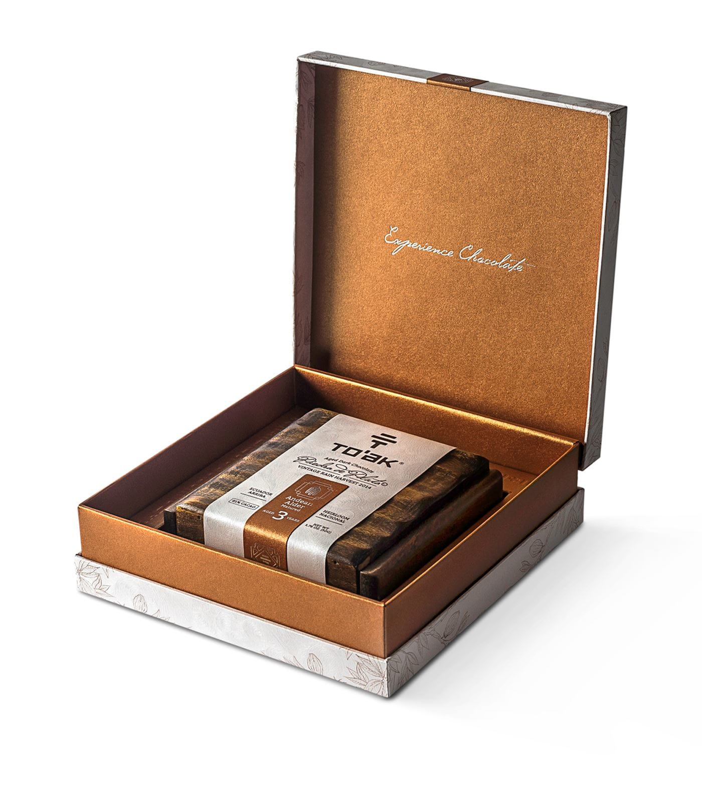 gift guide, rare chocolate bar, aged in cognac cask, in elm wood box