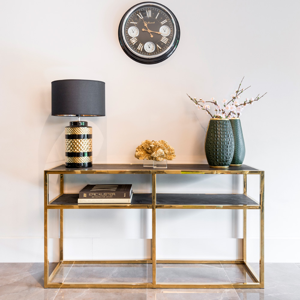 showhome furniture, Contemporary Black And Gold Narrow Console Table