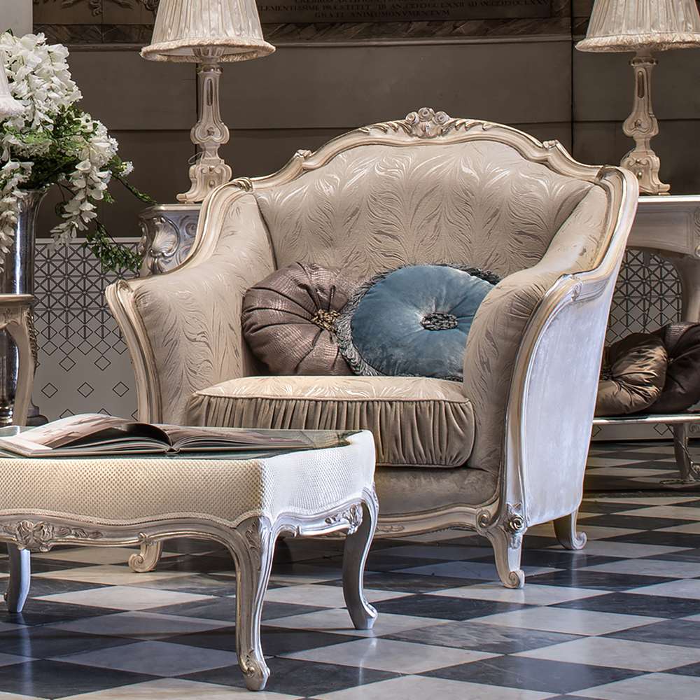 luxury interiors, Classic Italian Luxury Grey Velvet Armchair