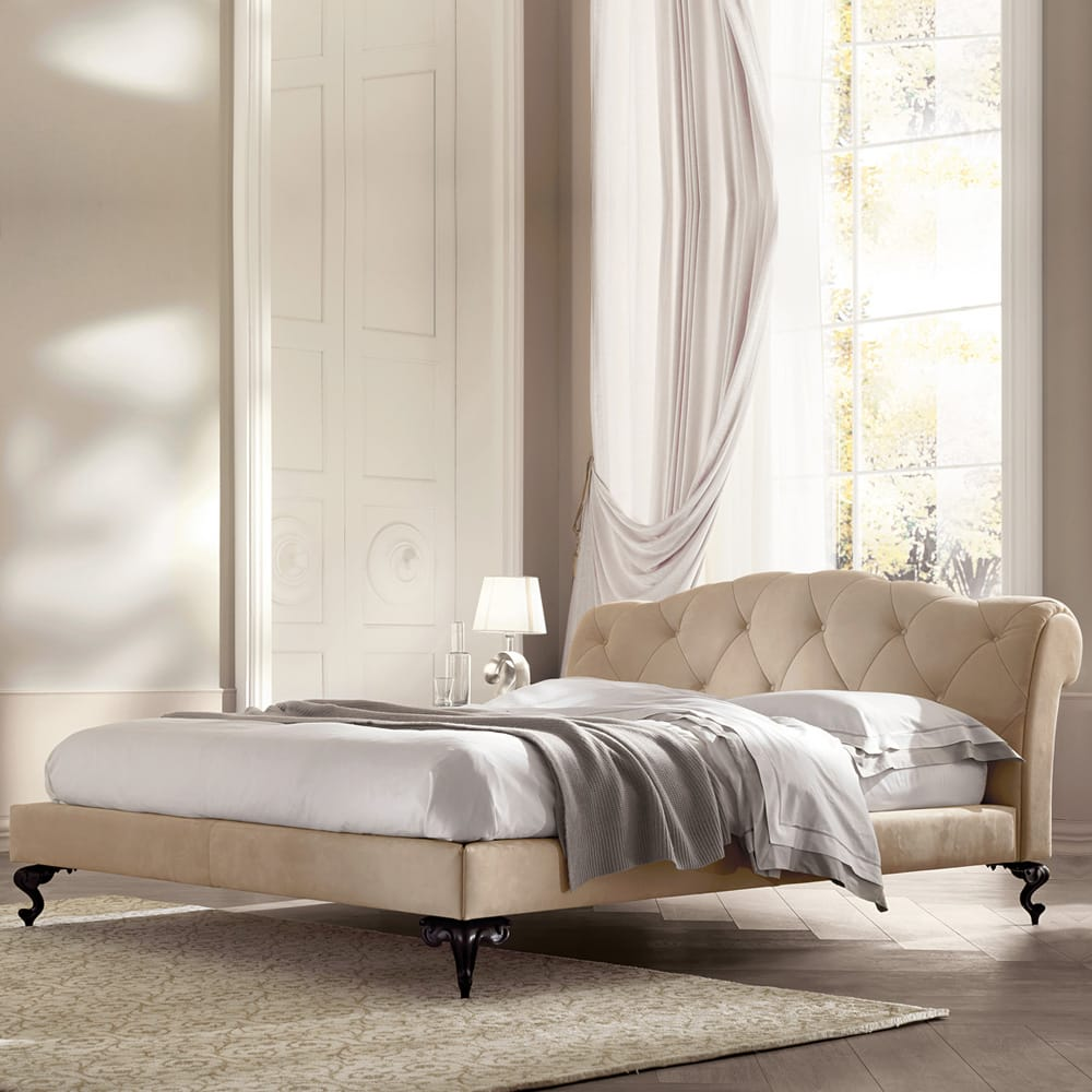 Classic Italian Nubuck Leather Button Upholstered Bed