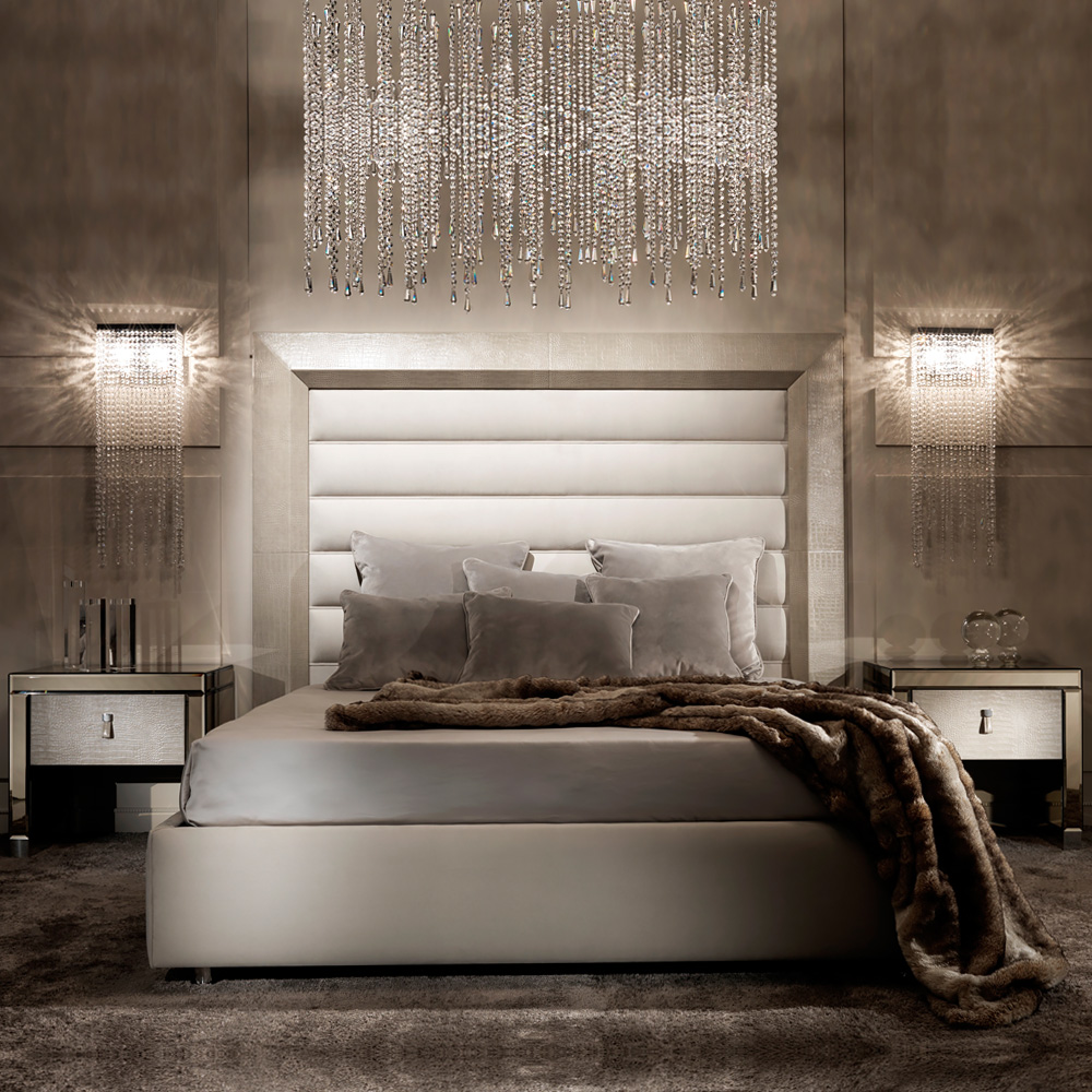 Contemporary Alligator Embossed Pattern Leather Bed