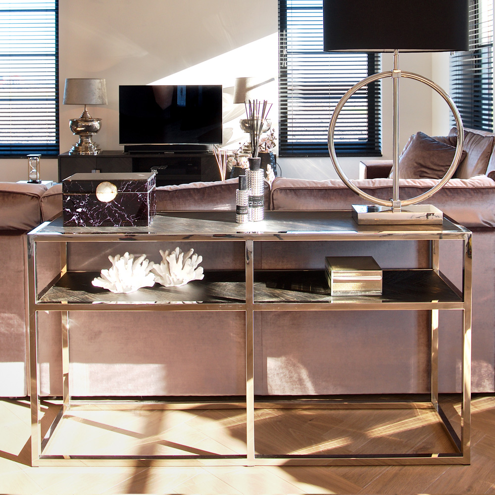 showhome furniture, Contemporary Black And Silver Narrow Console Table